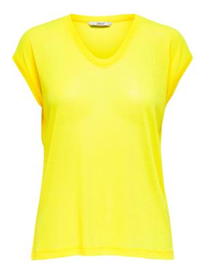ONLSILVERY S-S V NECK LUREX TO 179033 Neon Yel