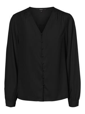 VMNADIA LS V-NECK BUTTON SHIRT 177868 Black