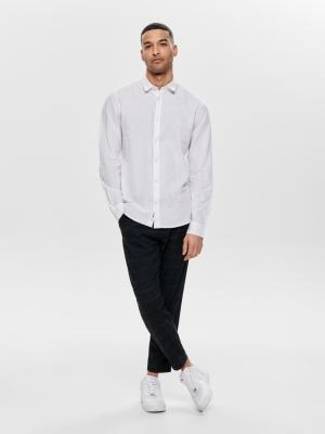 ONSCAIDEN LS SOLID LINEN SHIRT 188758 White